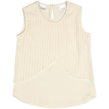 Kardashian Kids Knit Tank Top with Pleated Overlay - White -