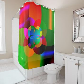 Abstract Cool Cute Fractal Neon Psychedelic Shower Curtain