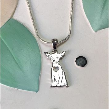 Chihuahua with Heart Cutout Sterling Silver Charm Necklace