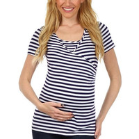 Striped Crossover Nursing Top - Short Sleeves