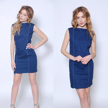Vintage 60s NAUTICAL Mini Dress Blue MOD Shift Dress Sleeveless Sundress
