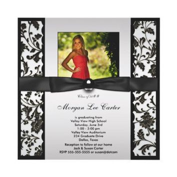 White Black Damask Photo Graduation Announcement from Zazzle.com
