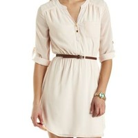 Belted Chiffon Shirt Dress by Charlotte Russe - Evening Sand