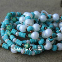 Turquoise and Pearl Bracelet Set