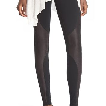 Sun & Shadow Faux Suede Panel Leggings | Nordstrom