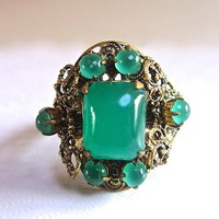 Czechoslovakia Ring Green Art Glass Filigree, Cabochons, Adjustable Brass, Twisted Rope, Vintage