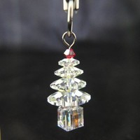 White Christmas Tree Swarvoski Crystals Cell Phone Strap Dust Plug