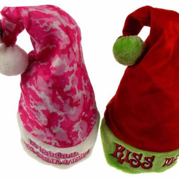 Set 2 Santa Hats Adult Kiss Me & Be Naughty Save Santa A Trip Christmas Holiday