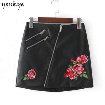 Fashion Women Floral Embroidery Faux Leather Skirt Side Zipper High Waist Black Mini Skirt Lady Office Skirt