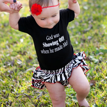 Christian Baby Onesuit, God Onesuit, Christian baby girl Onesuit, religious Onesuit, God was Showing Off When He Made Me