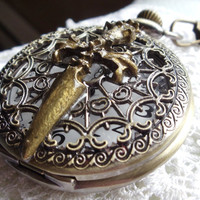 Pirate pocket watch, bronze sword with pirate head had been mounted on front cover of bronze pocket watch.
