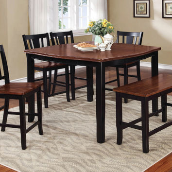 Furniture of america CM3326BC-PT-6PC 6 pc dover ii two tone vintage black cherry finish wood counter height dining table set