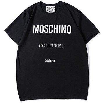Moschino 2019 new print logo men and women round neck shirt T-shirt Black