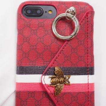 GUCCI New ring creative iphone7plus gucci leather card 6s7p8 phone shell