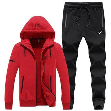 NIKE autumn and winter models plus velvet sweater men's casual sports running clothes two-piece Red