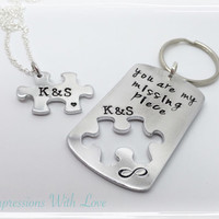 Hand stamped valentines necklace and keyring keychain set jigsaw puzzle you are my missing piece personalised custom gift for him/her