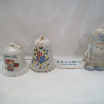 3 Vintage Christmas Tree Ornaments 2 Bells And Toy Soldier Porcelain