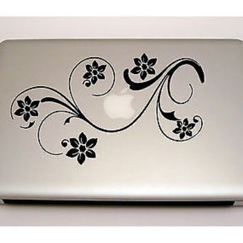 MACBOOK IPAD LAPTOP VINYL STICKER DECAL CUSTOM SIZE FLOWERS FLORAL DESIGN  T015