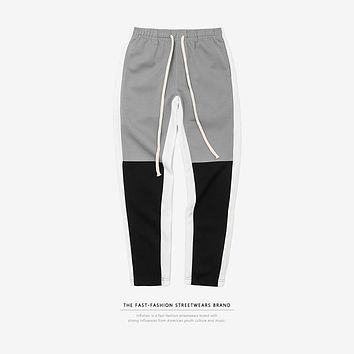 Men's Motocross Trackpants Slim Fit Elastic Waist Double Striped Bottoms Retro Fashion Sweatpants
