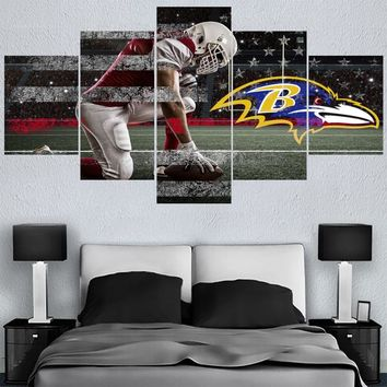 Football Team Baltimore Ravens 5 Panel Canvas Painting Calligraphy Sport Ball Poster Wall Art Painting Modern Home Decor Picture