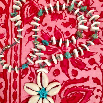 Vintage Beachy Surfer Sea Shells & blue southwestern Stones summer vacation Necklace on light blue Cord