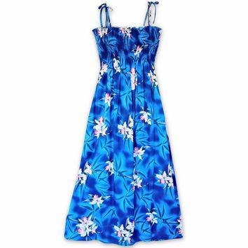 Poipu Blue Maxi Hawaiian Dress