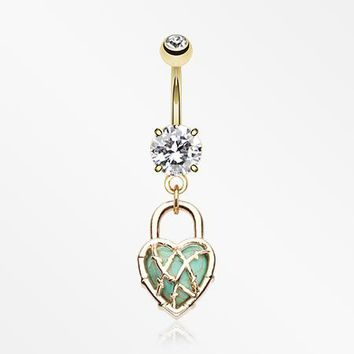 Golden Heart Lock Turquoise Belly Button Ring