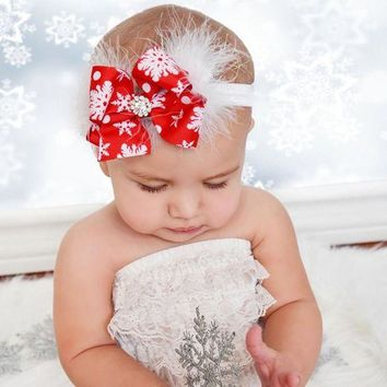 ONETOW Cute Christmas Red Bow Feather Headband Snow Flower Girls Hair Accessories Headwear Photography props