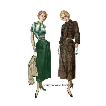 1940s Womens SKIRT & BOLERO Jacket Long Skirt Large Pockets Cuffed Sleeves Jacket Bust 36  Post WWII Simplicity 2942 Womens Sewing Pattern