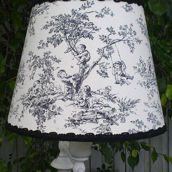 Toile Lamp Shade  European Socket Fitting Uno Frame/ Black, Off-White Cotton Upholstery Fabric  Black Grosgrain Ribbon Braided Gimp Trim