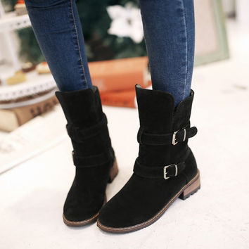 Mid Calf Boots Round Toe Buckle Shoes Woman