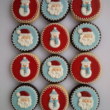 Old Fashioned Santa and Snowman Cookies - One Dozen Decorated Christmas Cookies