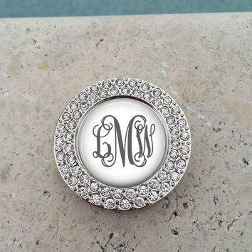 Personalized Monogram Rhinestone Purse Hanger, Purse Holder, Purse Hook, Diaper Bag, Lunch Bag, Bridesmaid Gift, Wedding Party Gift, Mom