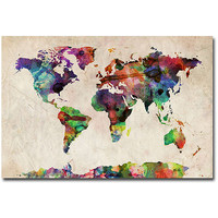 "Walmart: Trademark Fine Art ""Urban Watercolor World Map"" Canvas Art by Michael Tompsett"