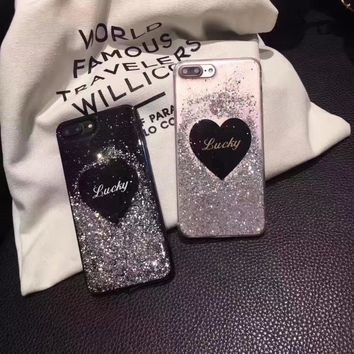 YoneShone Women Korean Luxury 3D Black Heart bling liquid Case Cover for iphone 6s 7 7 Plus Creative Soft Silicone shell Cover