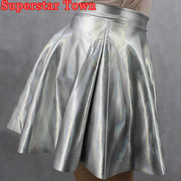 Taeyeon Sliver Ball Gown Skirts School Look Shiny Faux Hologram Metallic Sliver Skirt Circle Skater Skirt
