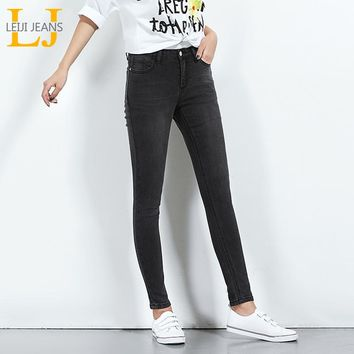 LEIJIJEANS 2018 Hot Sale Spring Plus Size Solid Color Mid Waist Full Length Casual Skinny Women Stretch Well Cool Jeans 5616