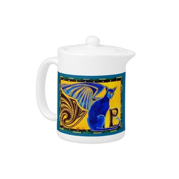 Winged Feline Hybrid Warrior Cat Design Teapot