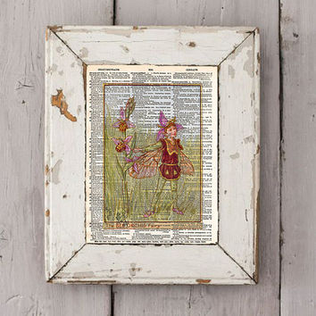 Vintage Flower Fairy art - Bee Orchis - Fairy art print,  Dictionary print art