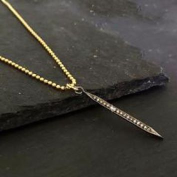 Pave Diamond Spike Necklace, 14K Gold Filled Bead Chain, Oxidized Silver Gold Jewelry