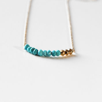 Turquoise & Pyrite Necklace - October Flash Sale