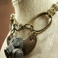 Fierce Brutalist Industrial Steampunk Distressed Macabre Art Necklace Accessory Noir Oracle Steam Amulet Grim Post Apocalyptic Bling