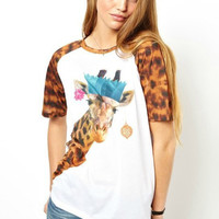 White Giraffe Printed T-Shirt