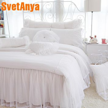 Svetanya Princess style Lace bedding sets 4pcs/8pcs modal linens Full/Queen/King size duvet cover+quilted coverlet+pillowcases