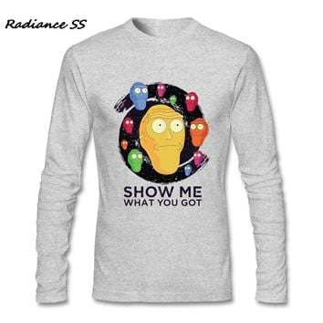 2017 New Arrival T-Shirt Mens Long Sleeve Show Me What You Got Graphic Rick and Morty Shirts Adult Tops