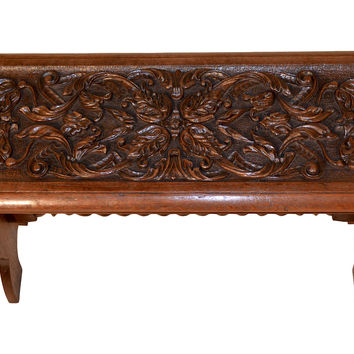 19th-C. English Oak Carved Bench