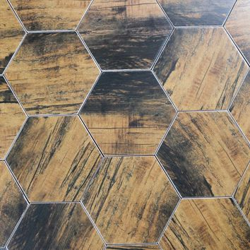 "Artisan Wood 8x8"" Ceramic Hexagon Tile Birchwood Matte"