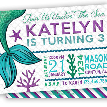Purple Mermaid Birthday Party Invitations - Nautical Under The Sea Birthday Girl Invite - Mermaid Tail Fin Ocean - Aqua Teal Stripes Custom