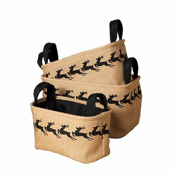 Holiday Nested Jute Storage Bins - Set of 3