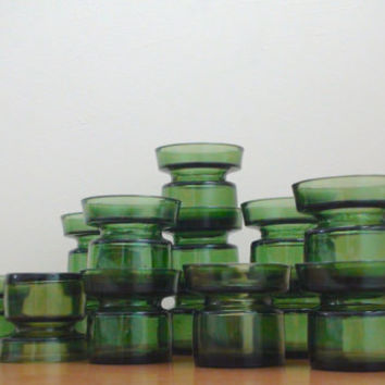 Vintage Dansk Votive Holders -- Green